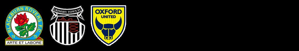 Blackburn, Grimsby and oxford football club logos