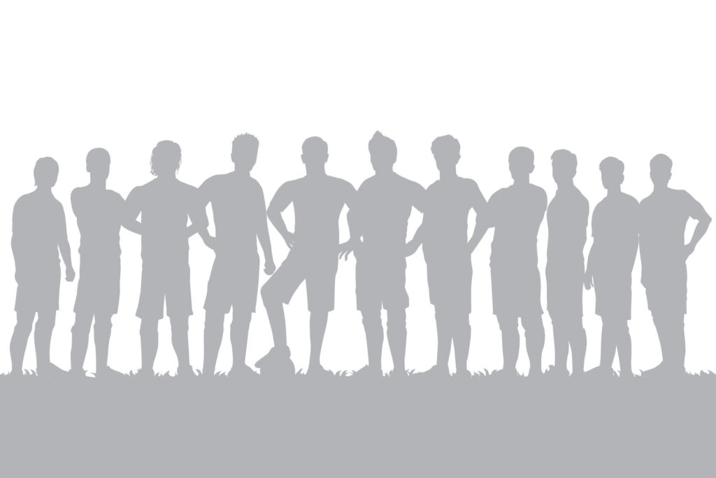 Silhouette of football team